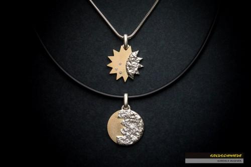 Sonne und Mond - Ein faszinierendes Zweiergespann, als Anhänger ausgearbeitet.
